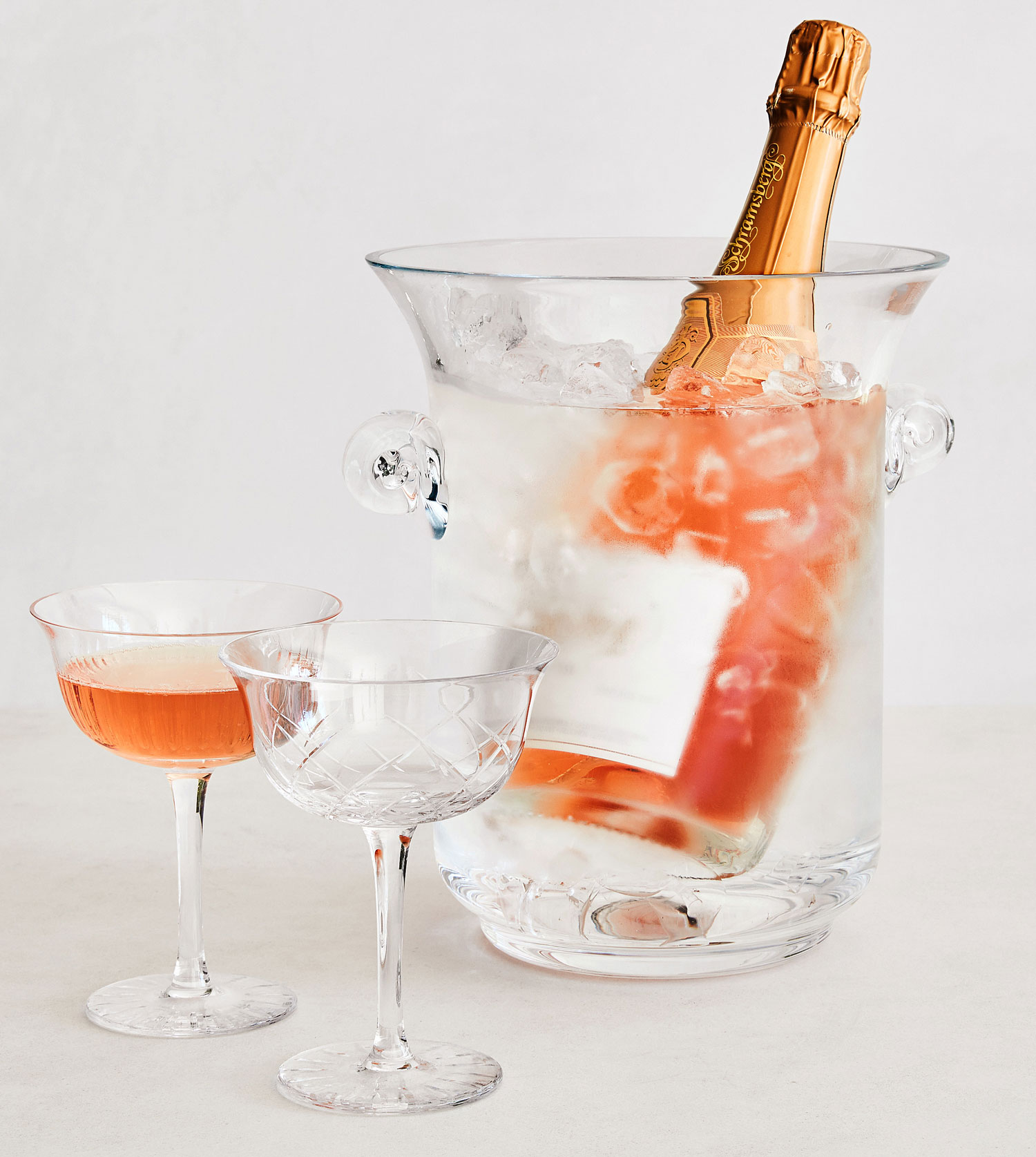 Monique Lhuillier for Pottery Barn ice bucket and champagne glasses coupe