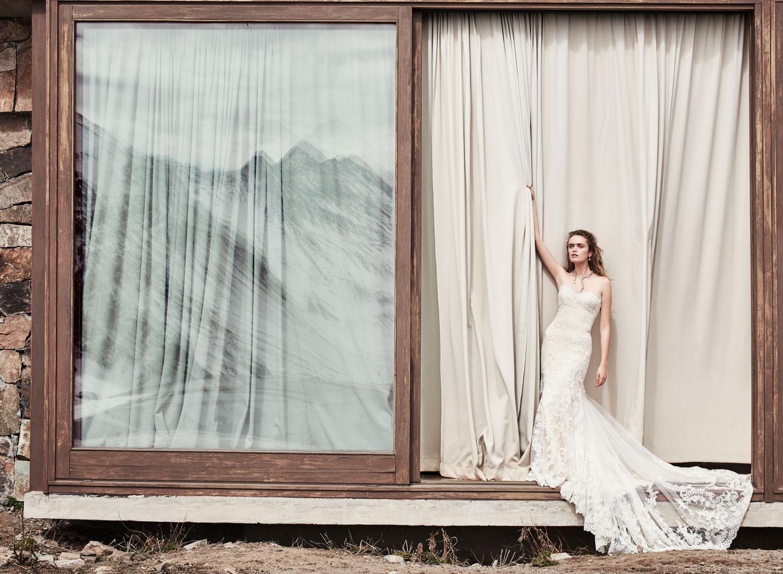 BHLDN Leigh wedding dress and Hermina necklace