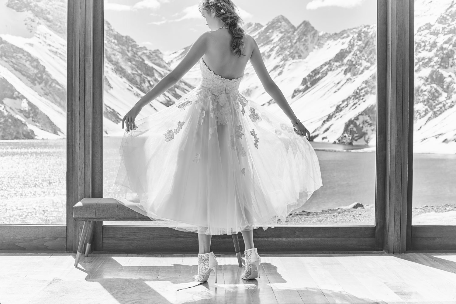 Black and white photo BHLDN Felicity wedding dress Julienne booties