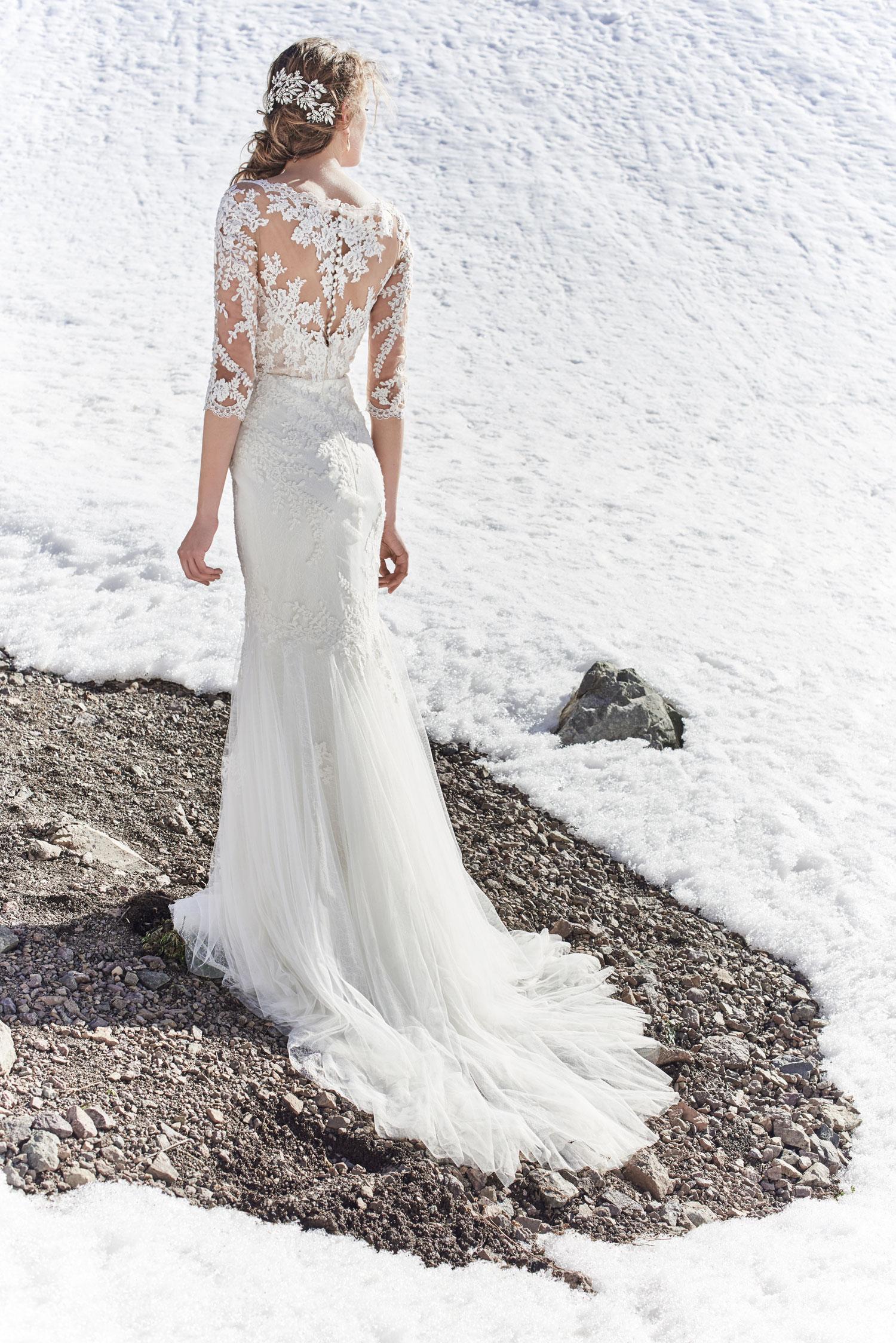 BHLDN back of Pique wedding dress illusion details