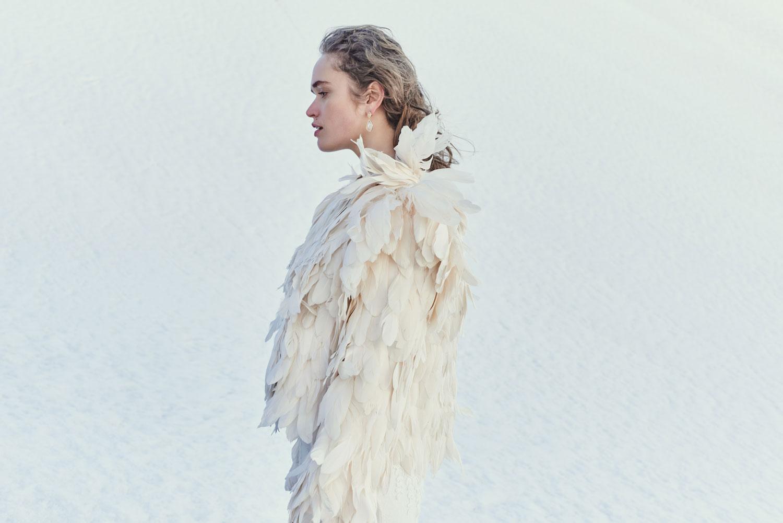 BHLDN Feather bridal jacket