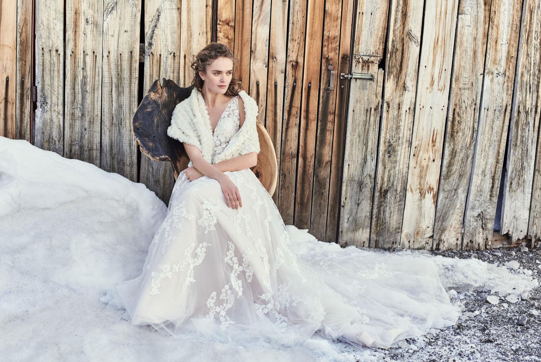 BHLDN Radcliffe wedding dress and Yates faux fur stole wrap