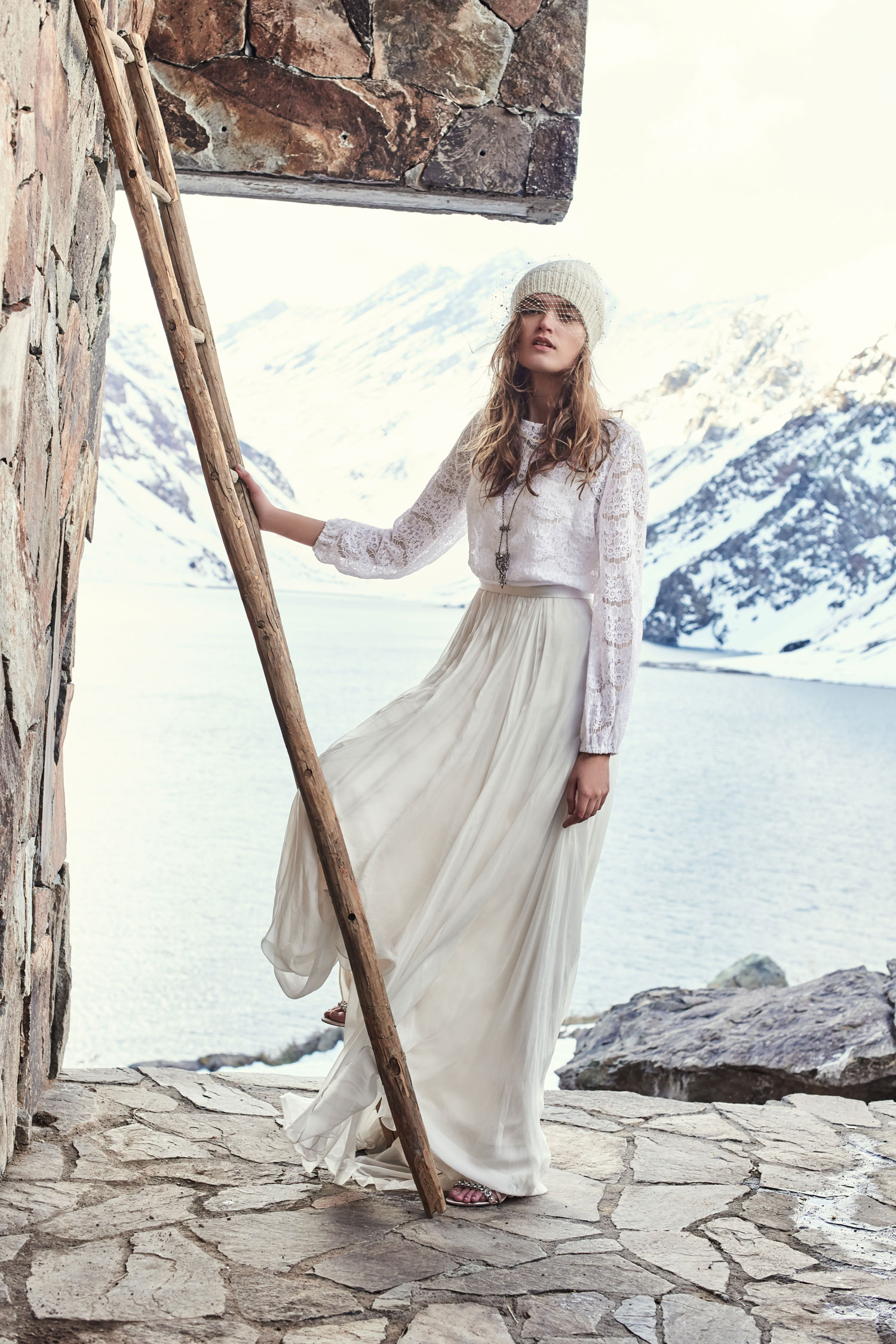 BHLDN Maureen lace top Delia skirt Cashmere Veiled Beanie hat and Paramount necklace