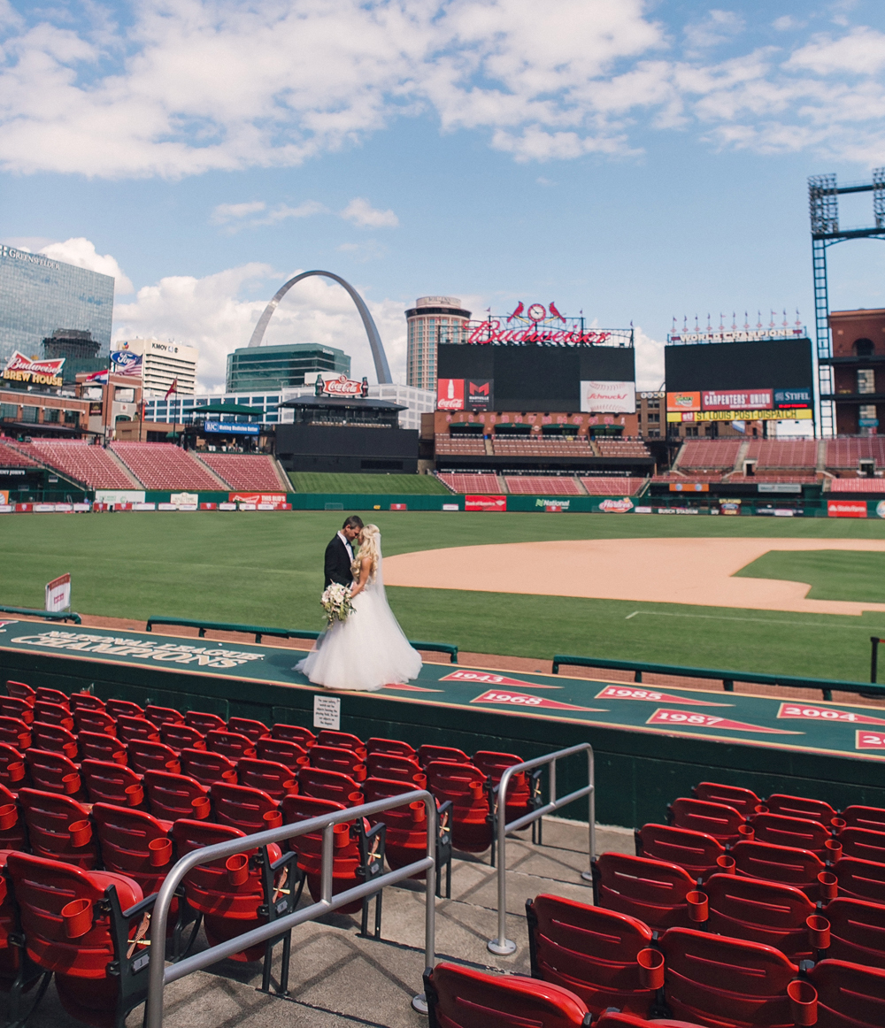 wedding portrait at busch stadium, st. louis cardinals stadium wedding photos