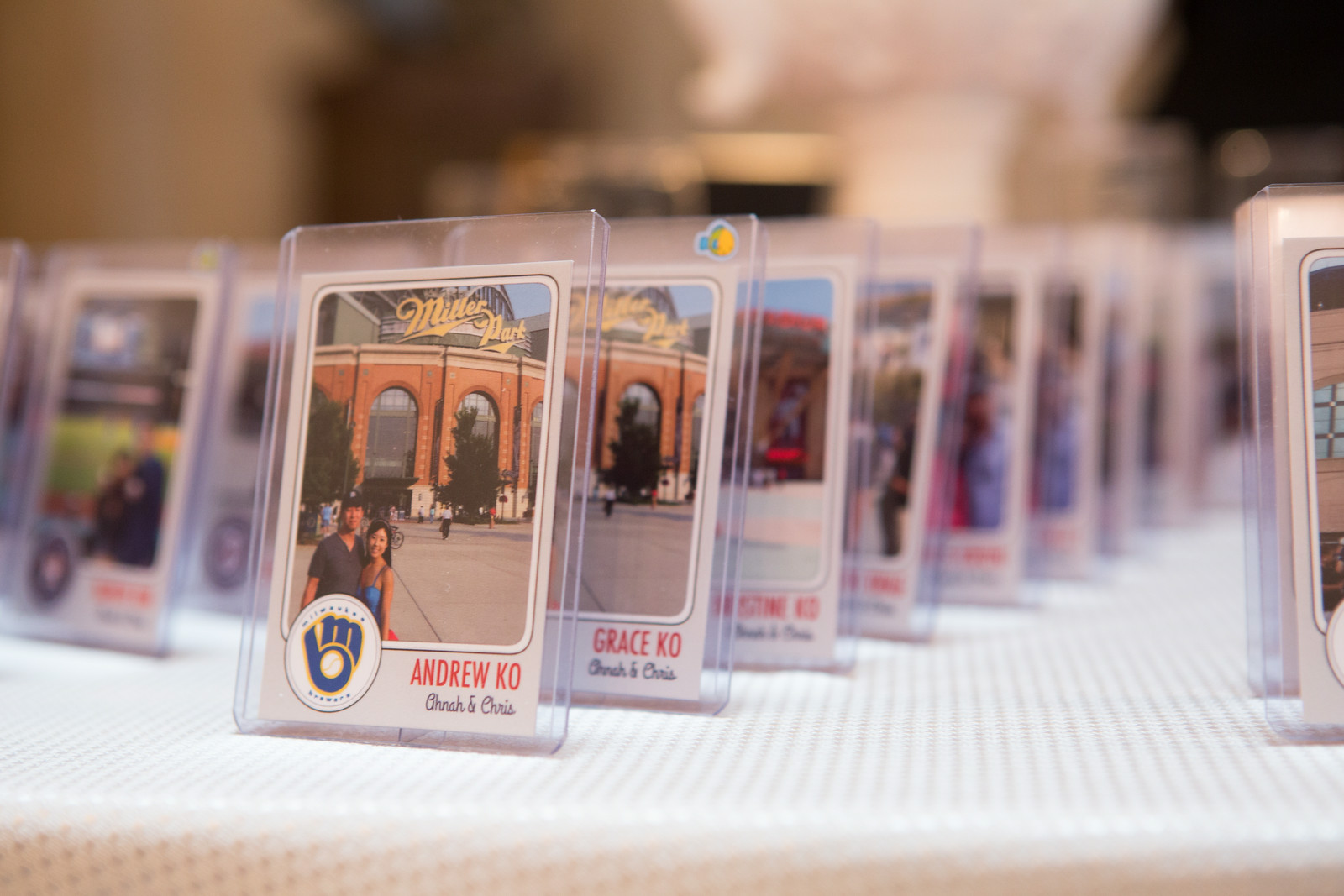 personalized baseball cards as escort cards at wedding