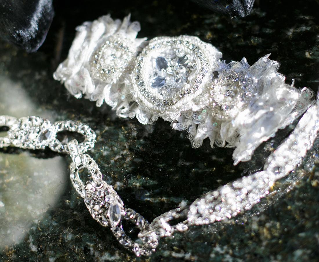 wedding garter with crystal and beaded embellishments
