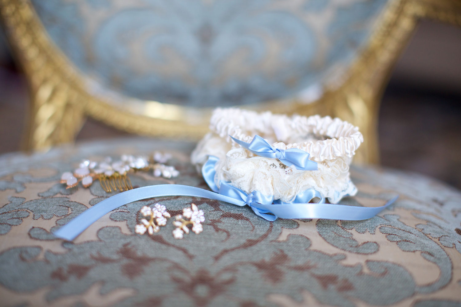 wedding garter with silk blue ribbon for something blue