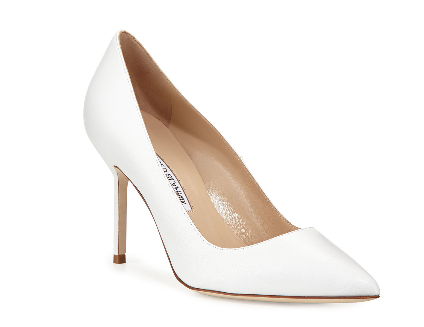 Nordstrom BB pointed toe pump Manolo Blahnik white wedding heels shoes