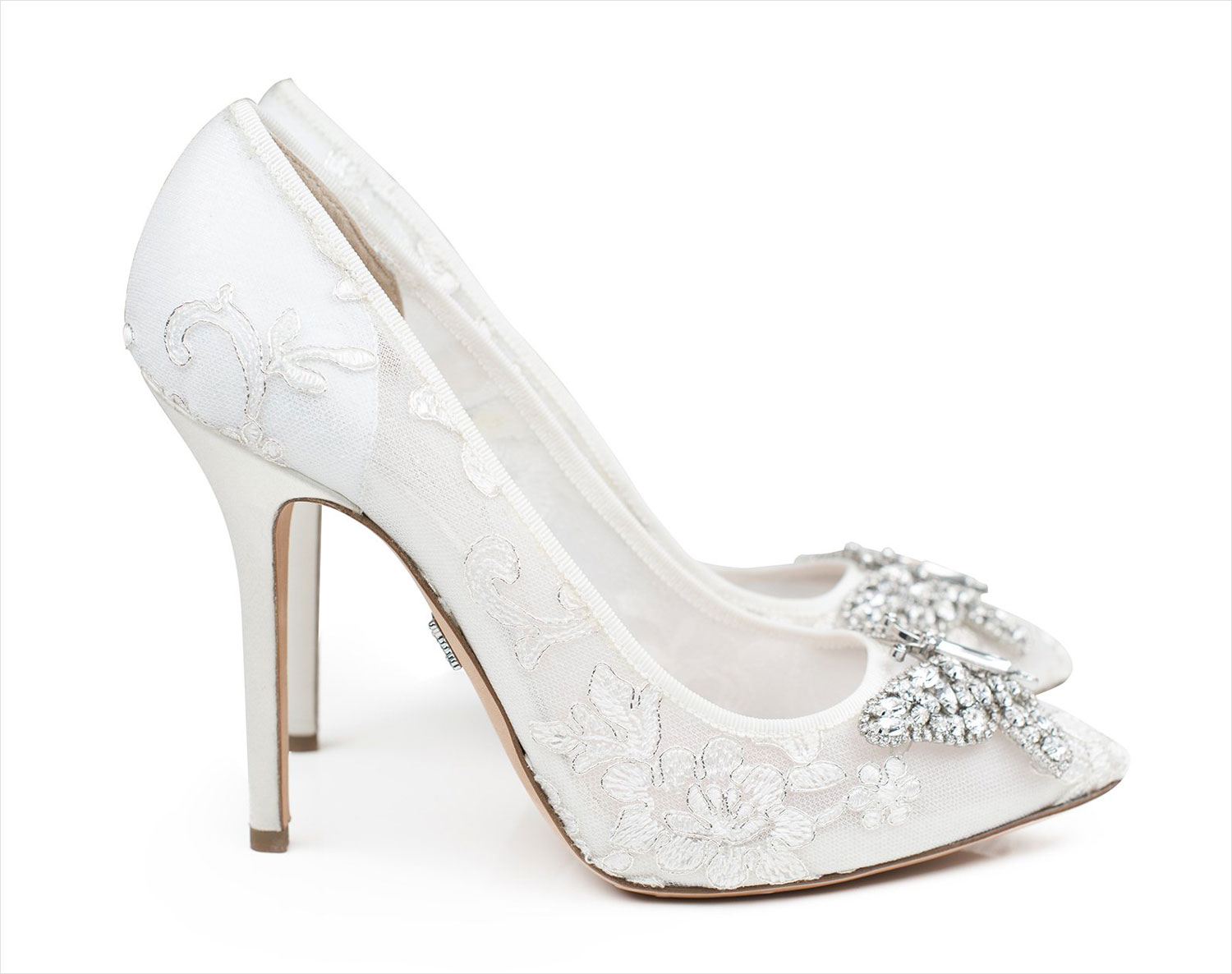 Aruna Seth Farfalla ivory lace pointed toe pump white wedding shoes heels