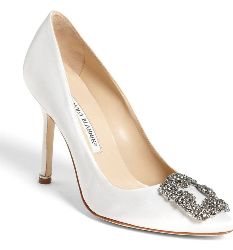 White wedding shoes heels Hangisi jewel pump Manolo Blahnik Nordstrom