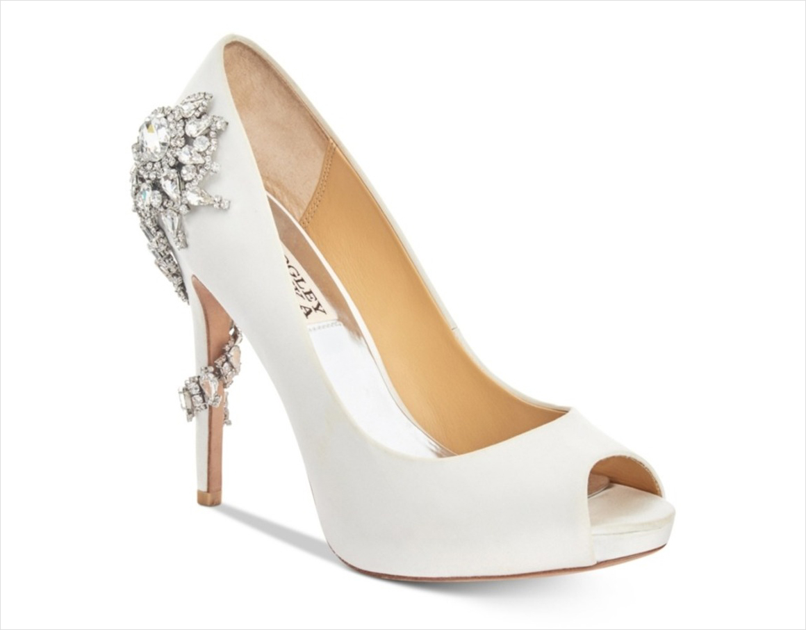 Royal Badgley Mischka peep toe pumps crystal heel nordstrom white wedding shoes heels