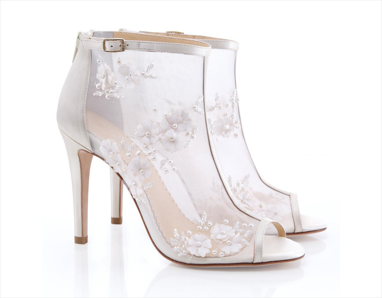 Belle by Joy Proctor wedding shoes white booties lace peep toe mesh