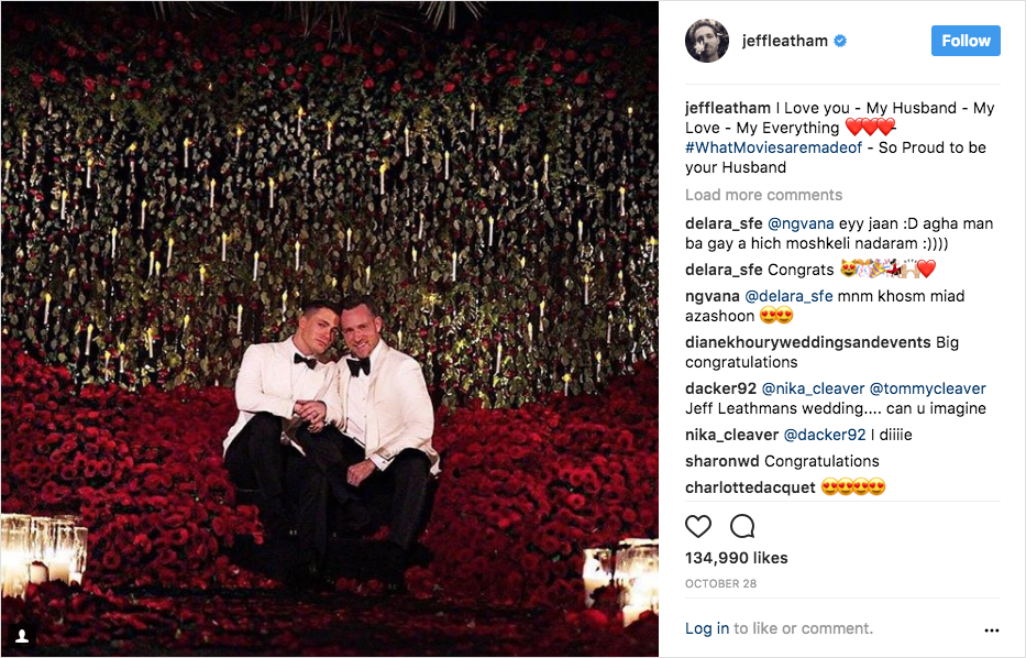 colton haynes jeff leatham wedding photo
