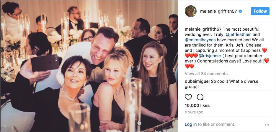 kris jenner, melanie griffith, chelsea clinton, with jeff leatham at his wedding to colton haynes