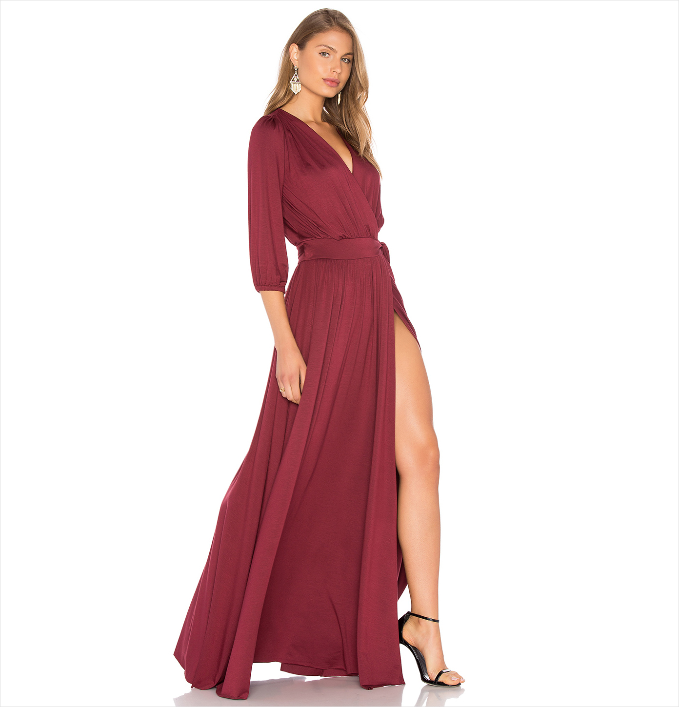 Ingrid silky red long sleeve wedding guest dress idea Rachel Pally Revolve