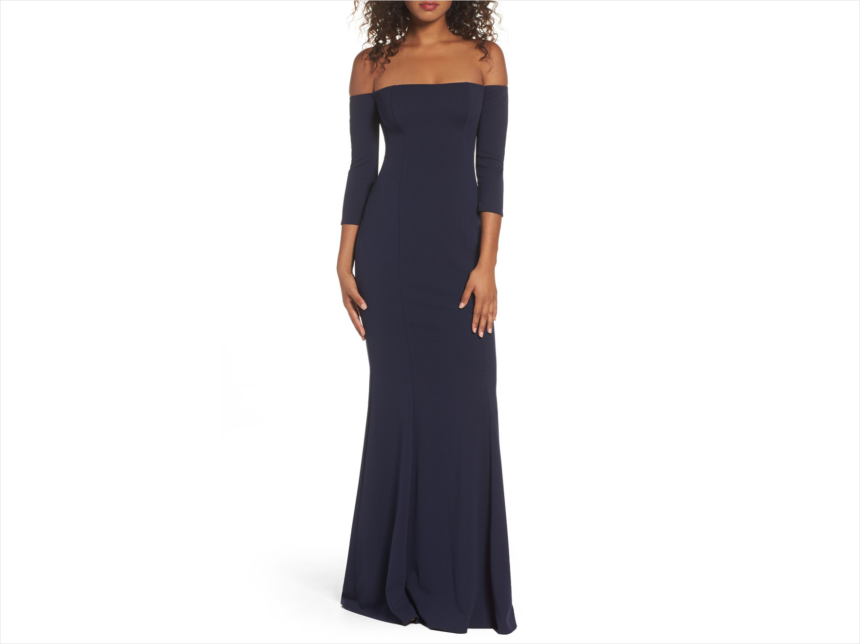 Three quarter sleeve off shoulder wedding guest dress idea navy Katie May Nordstrom