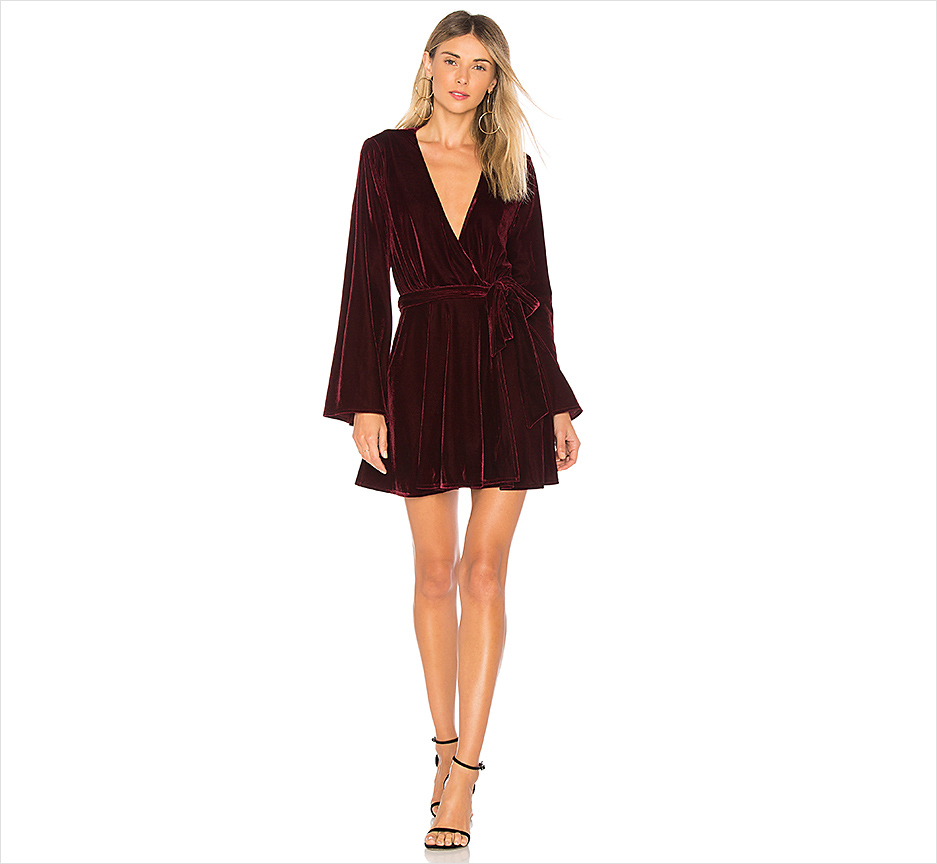 Short mini dress long sleeve velvet red burgundy The Wrap Mini L'Academie Revolve