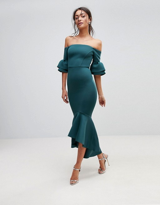 Bardot off shoulder midi dress bodycon teal Asos