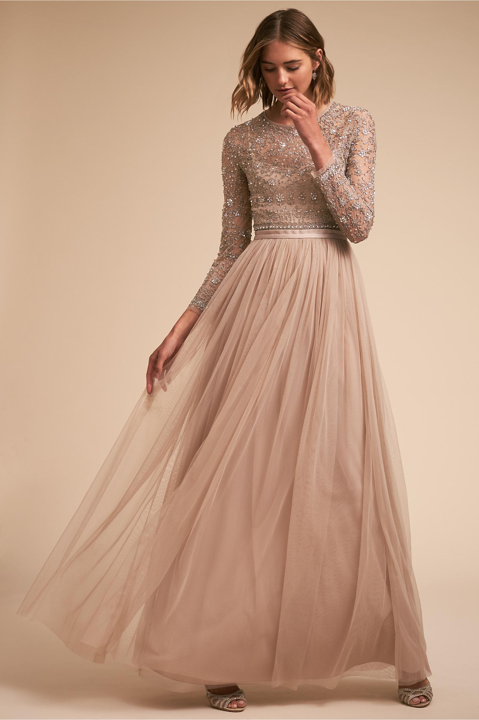 Miramar sparkly long sleeve wedding guest dress idea Needle & Thread BHLDN