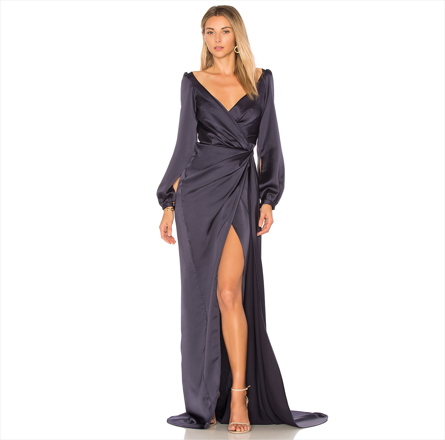 High slit long sleeve wedding guest dress gown ideas Whisky Jay Gemeli Power Revolve