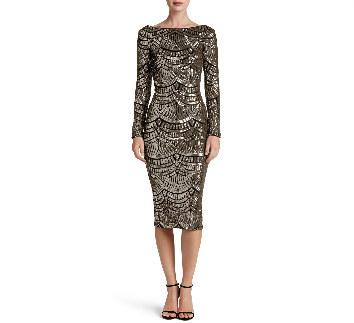 Emery sequin long sleeve wedding guest dress sparkly midi gown Dress the Population nordstrom