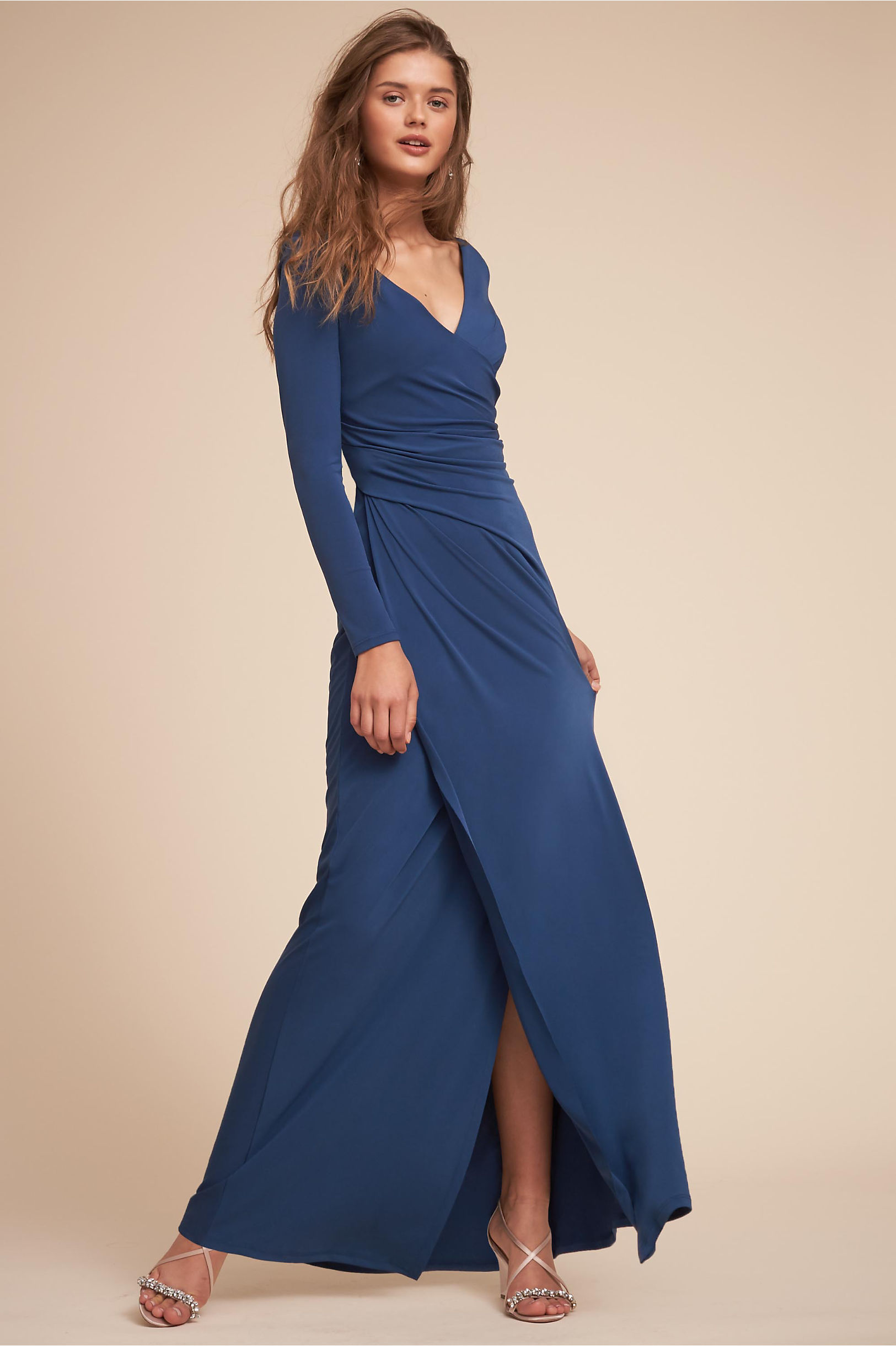 Long sleeve blue wrap wedding guest dress Makena from BHLDN