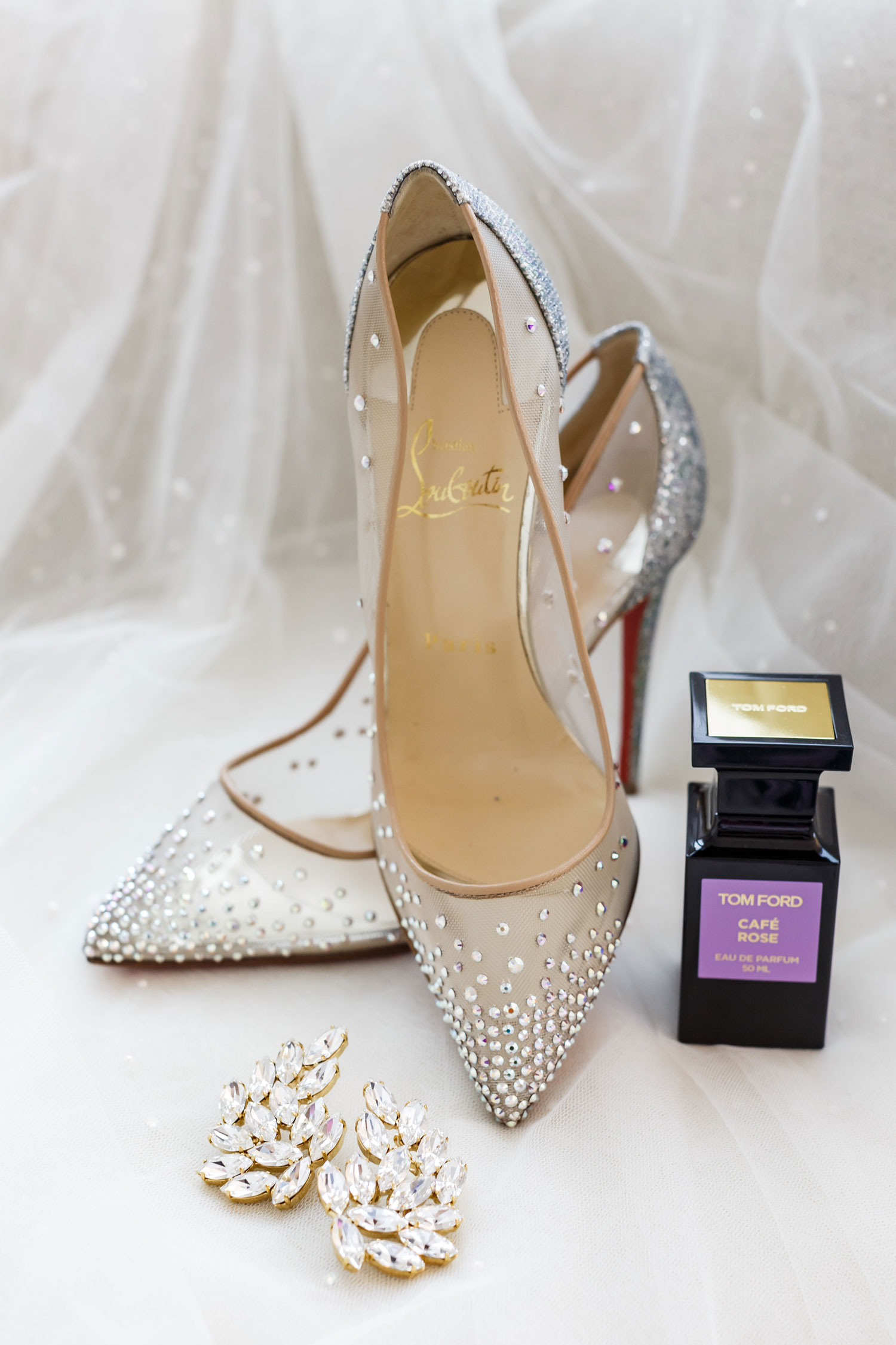 Christian Louboutin sheer sparkly wedding shoes wedding detail shot photography