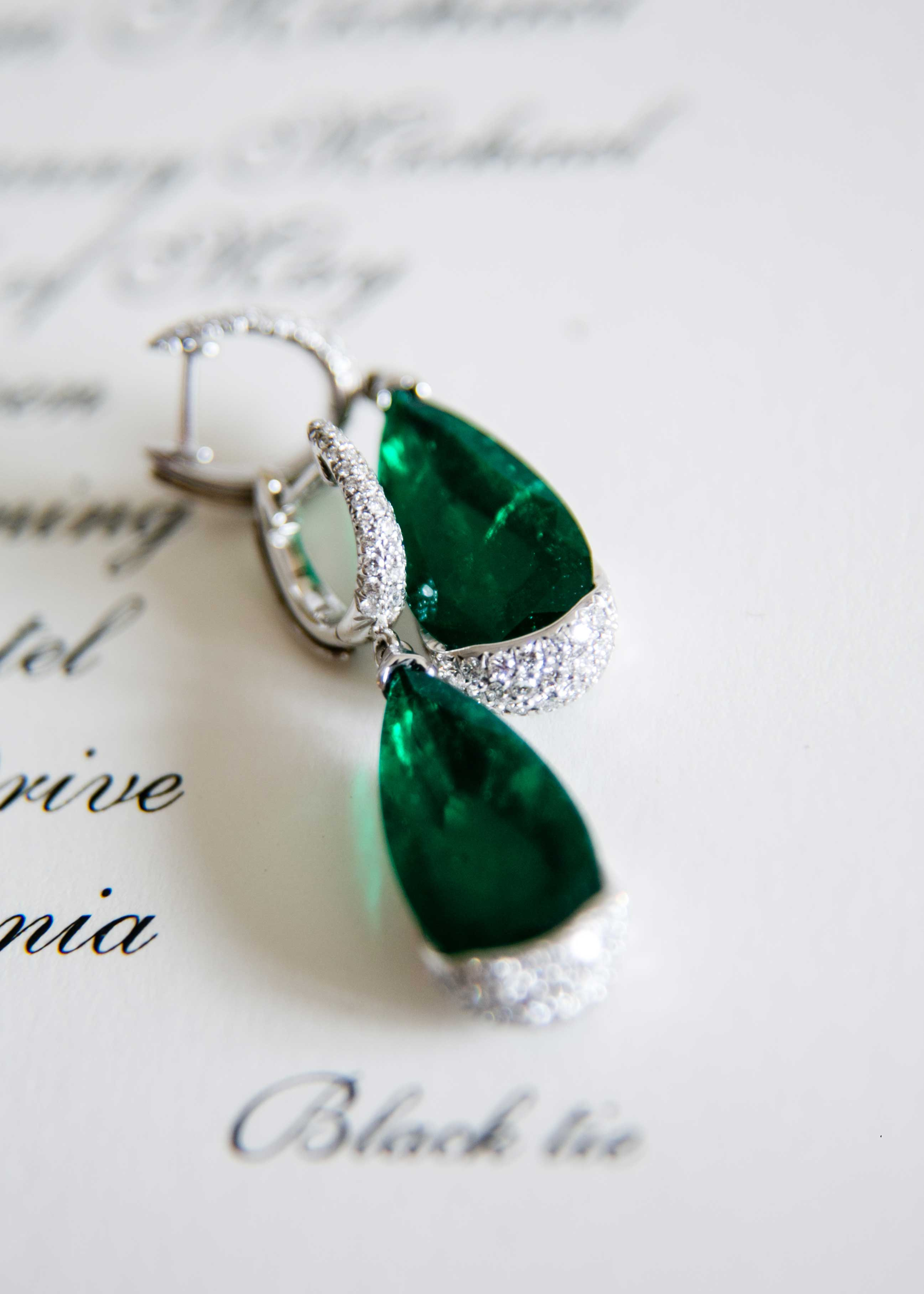 Emerald and diamond earrings jewelry wedding detail shots