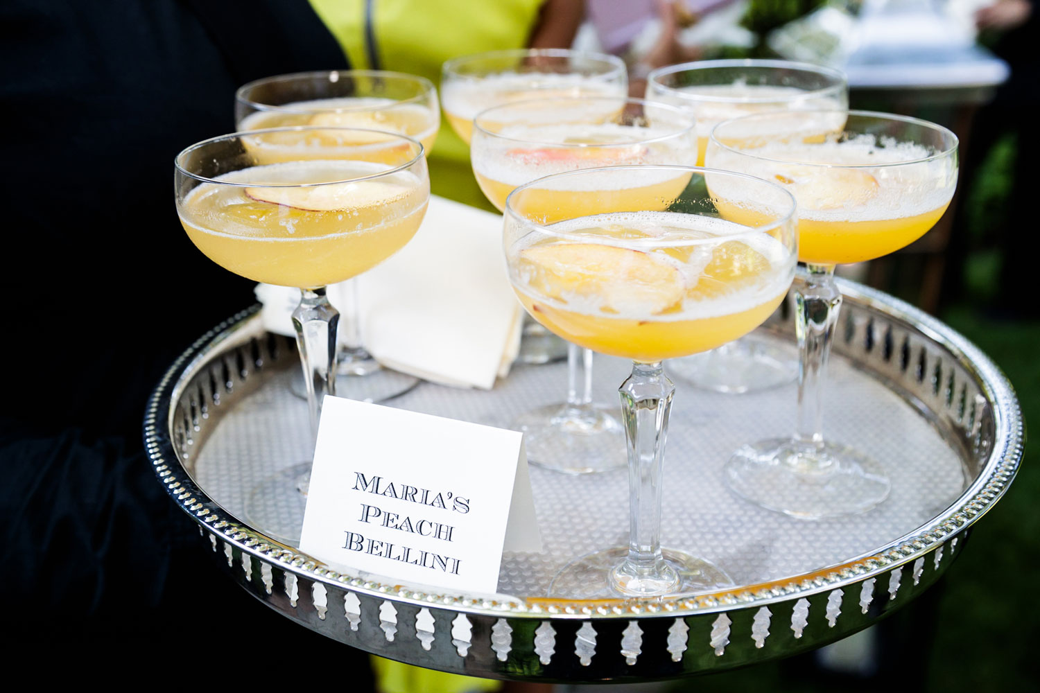 Signature drinks on tray at wedding reception wedding detail shot photography