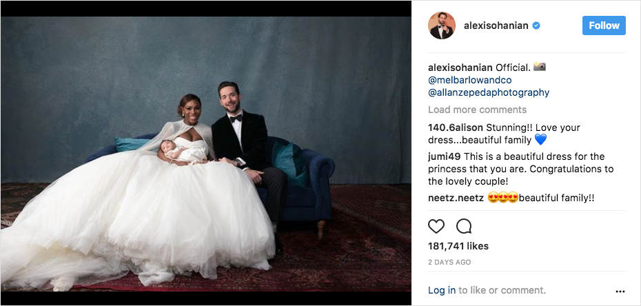 serena williams, alexis ohananian, alexis olympia ohananian family wedding portrait