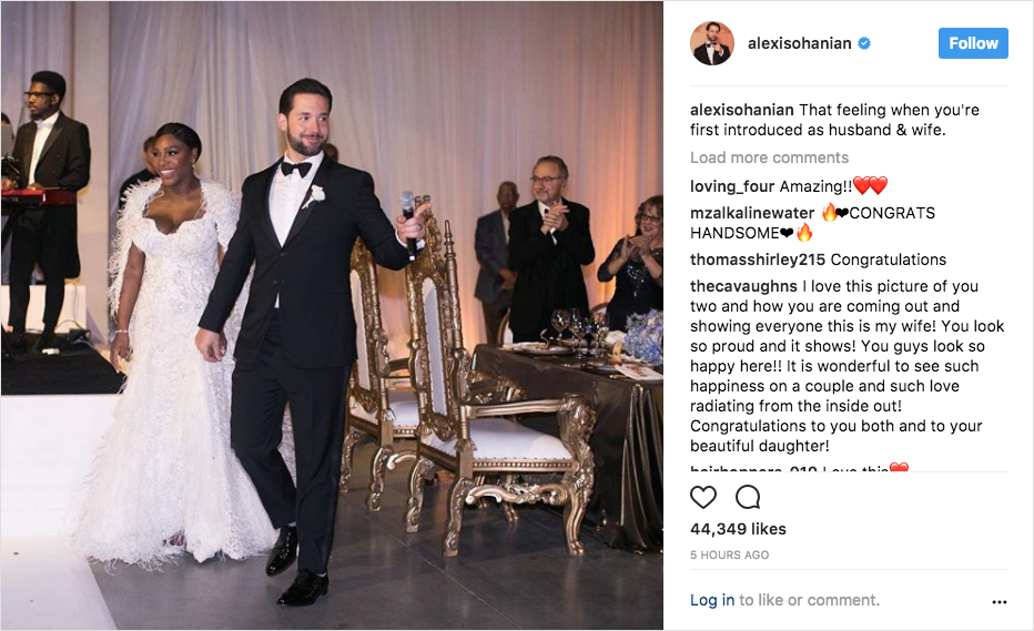 serena williams and alexis ohanian wedding grand entrance, serena williams second wedding dress