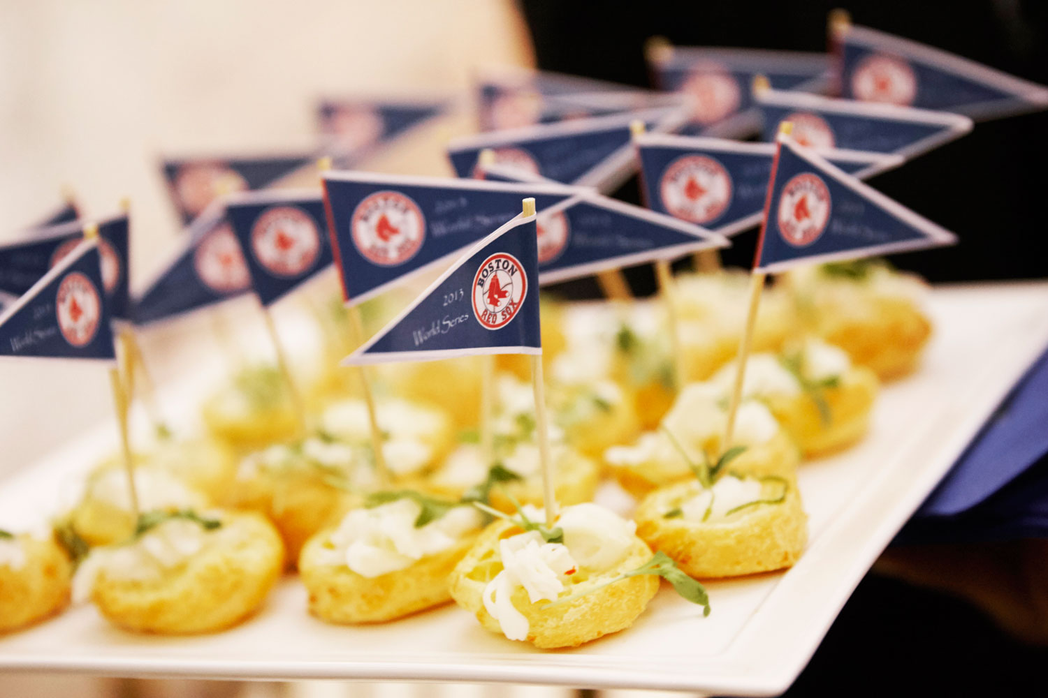 Baseball flags in hors d'oeuvres at wedding