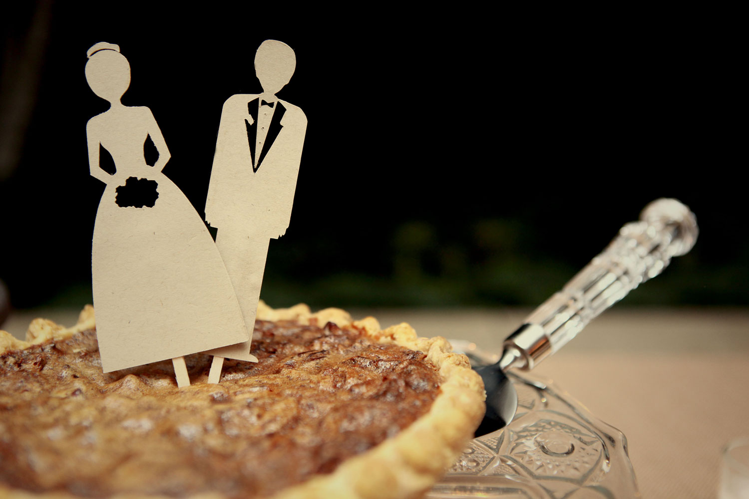 Pie with cutouts at wedding
