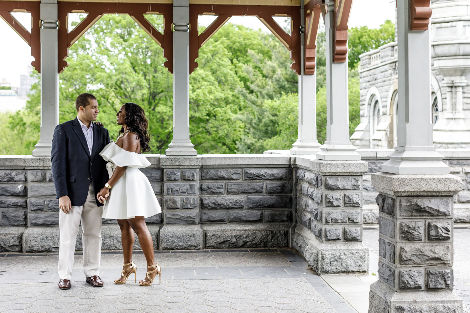 New York City central park engagement session photo by Amy Anaiz Belvedere castle cute white dress