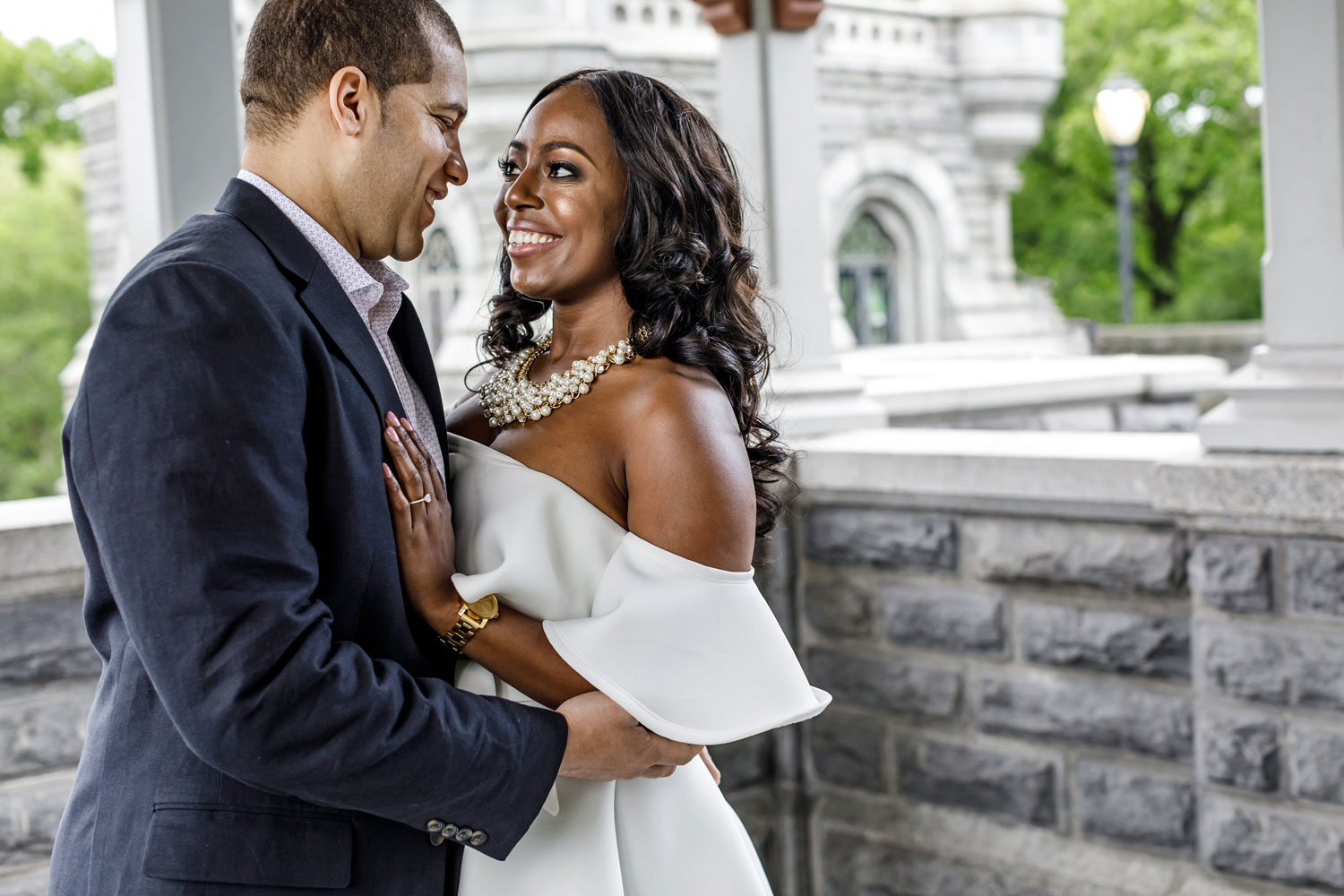 New York City central park engagement session photo by Amy Anaiz bride in white dress and groom in suit