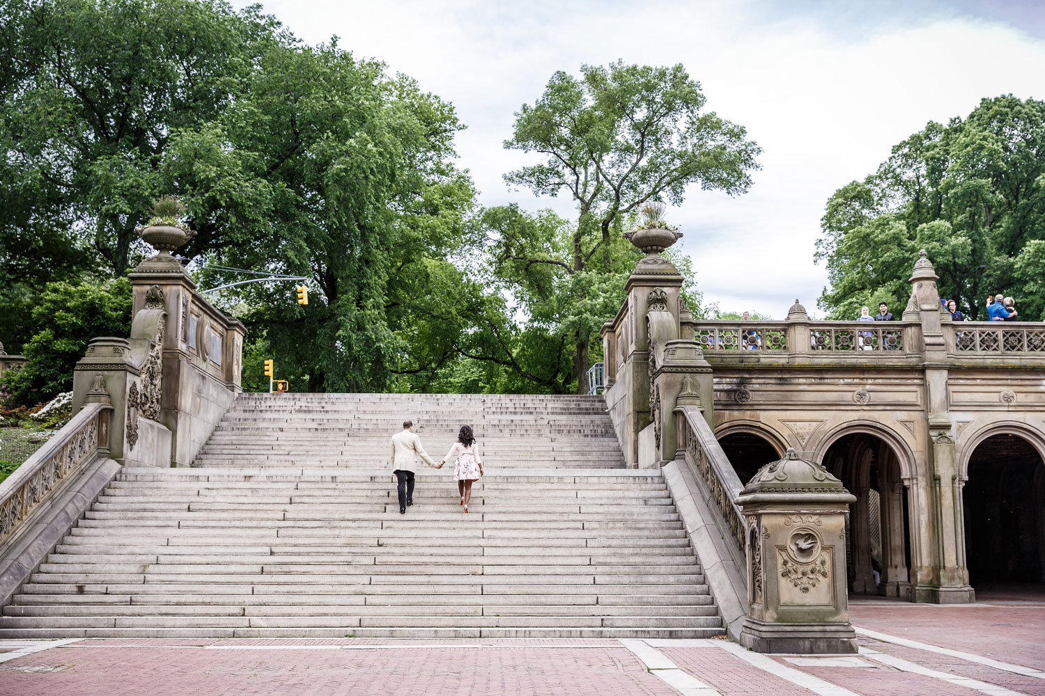 New York City central park engagement session photo by Amy Anaiz Bethesda Fountain stairs