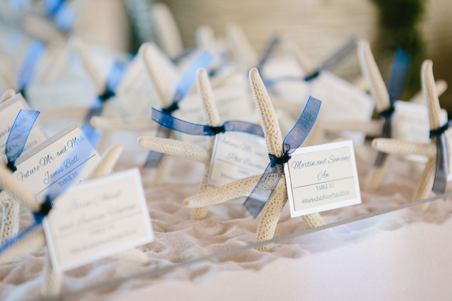 Starfish escort cards for beach wedding reception ideas