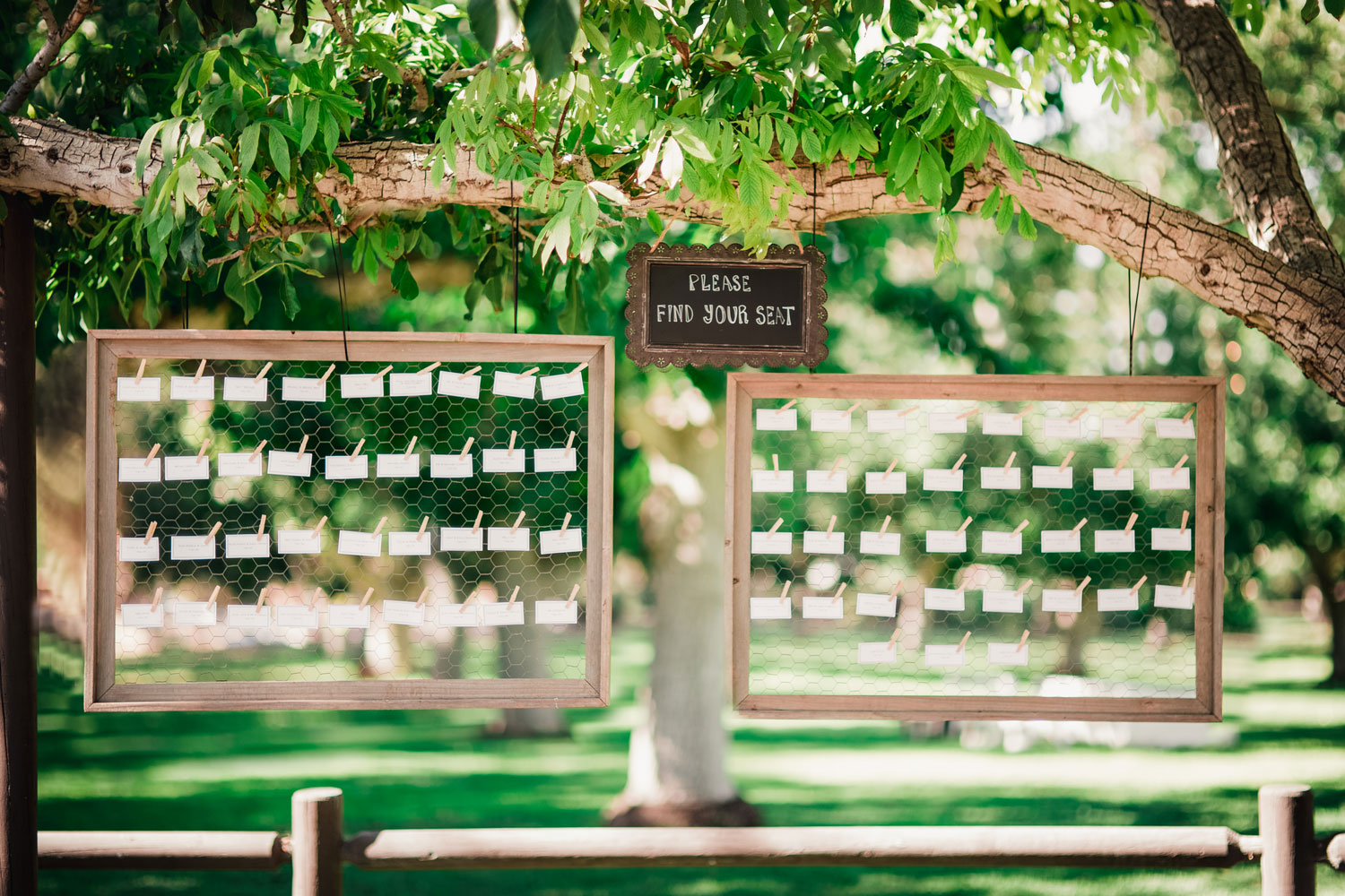 Chicken wire clothespin wedding reception escort cards