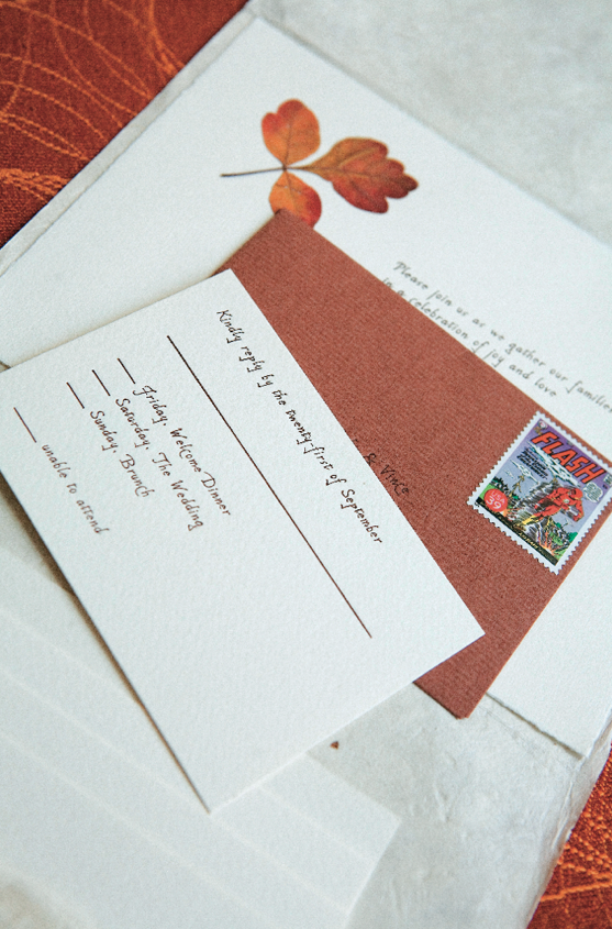 fall foliage inspired wedding invitation suite