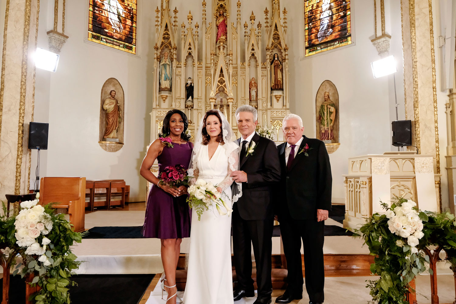 major crimes lt. andy flynn and capt. sharon raydor wedding, major crimes shandy wedding, tony denison and mary mcdonnell, patrice perry, lt. louis provenza