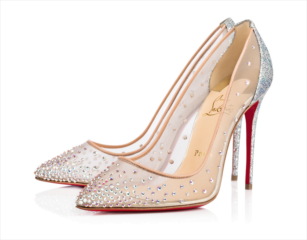 Christian Louboutin bridal heels pumps rhinestones