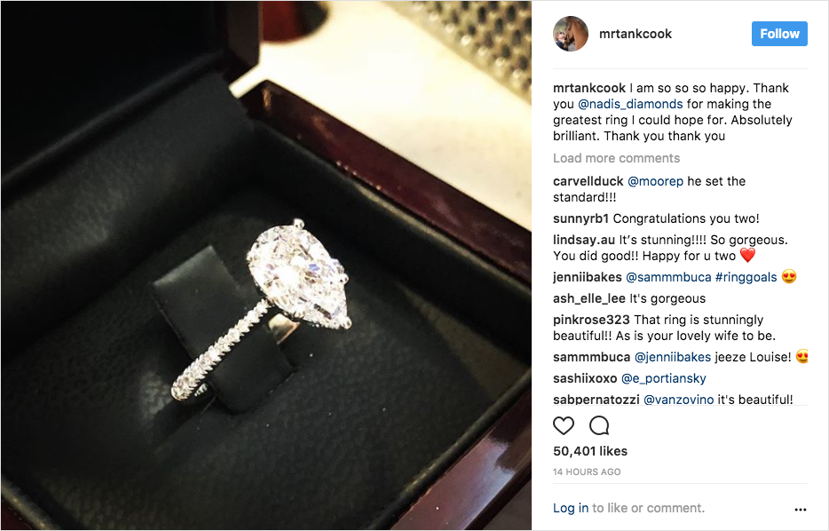 karl cook proposes to kaley cuoco, kaley cuoco engagement ring pear diamond with tapered pavé band