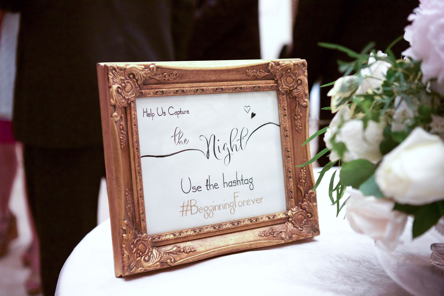 Framed wedding hashtag sign ideas