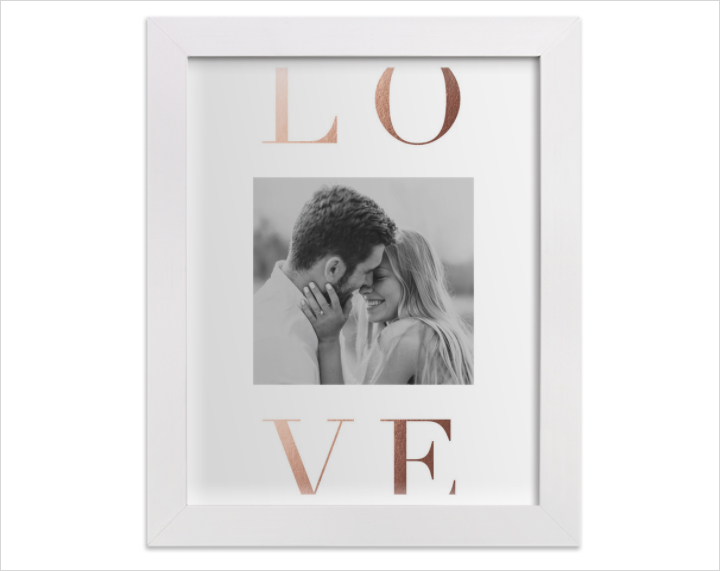 Minted love letters foil personalized photo art print in frame