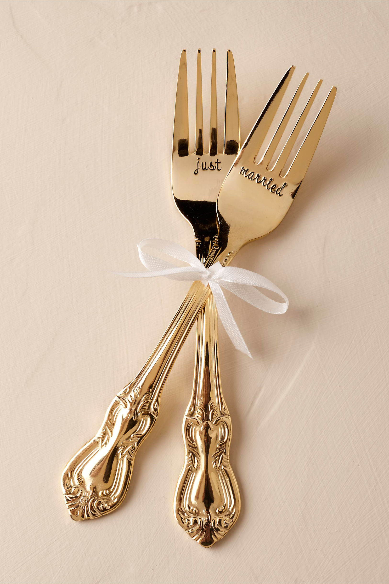 Gold just married forks engraved holiday gift ideas guide