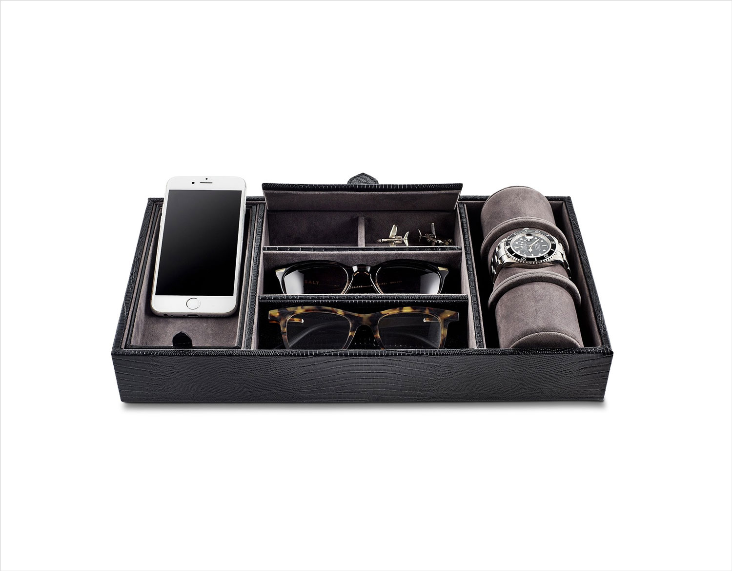 Black leather tray for men accessories Gearys holiday gift guide