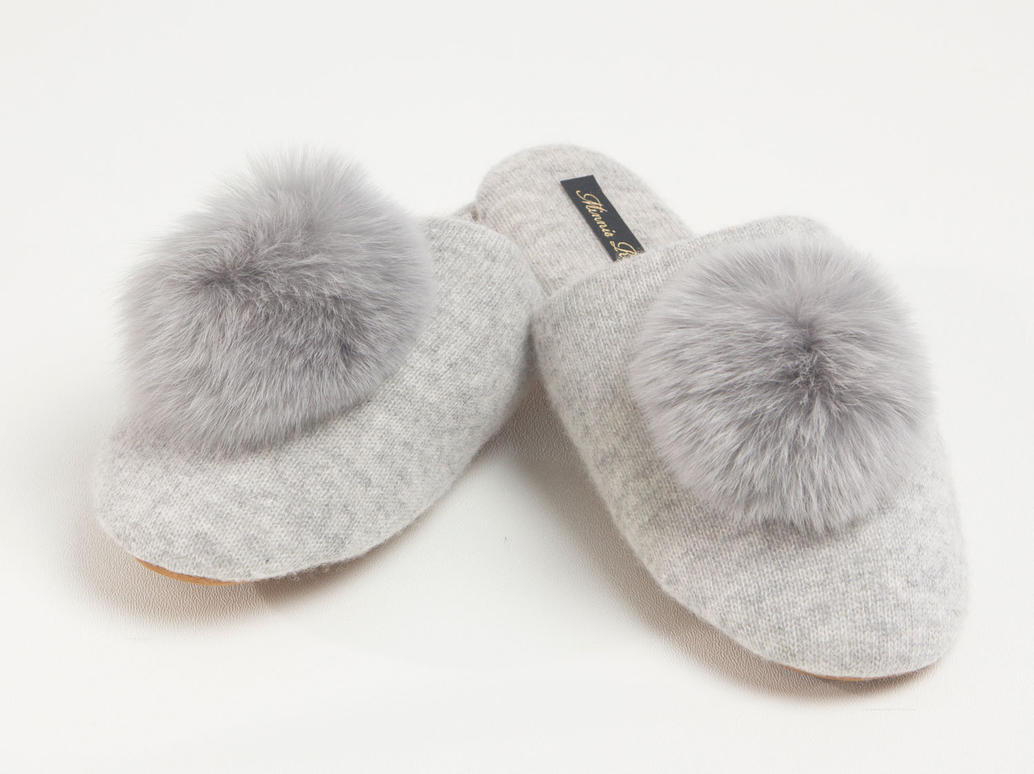 Light grey pom pom fur slipper cashmere Minnie Rose holiday gift guide