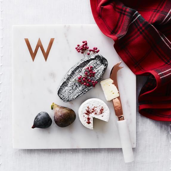 Holiday gift guide Williams Sonoma marble copper cutting board monogram