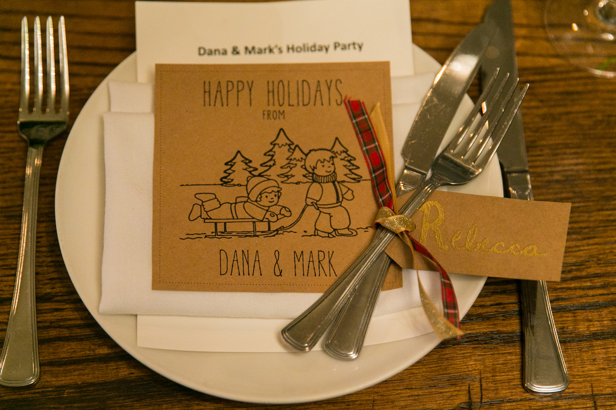 kraft paper cartoon greeting card place setting for holiday party