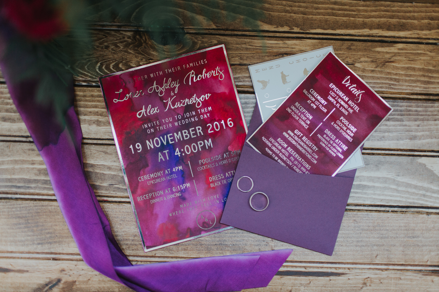 Pantone Color of the Year 2018 Ultra Violet wedding ideas invitation